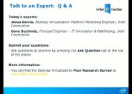 Intel® Talk to an Expert Series: Desktop Virtualization Survey