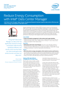 Reduce Energy Consumption with Intel® Data Center Manager