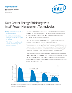 Data Center Energy Efficiency with Intel® Power Management Technologies