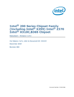 Datasheet, Vol. 1: Intel® 200 and Z370 Series Chipset Families PCH