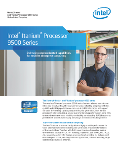 Intel® Itanium® Processor 9500 Series Product Brief