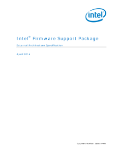 External Architecture Spec.: Intel® Firmware Support Package