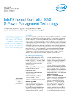 Intel® Ethernet Controller I350 and Power Management Technology