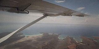 View of Mexican coastline from aircraft